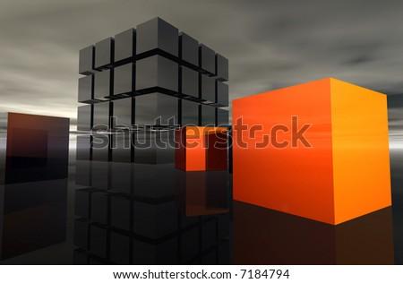 Orange Box Series - Difference. A unit of cubes with scattered orange cubes. - stock photo