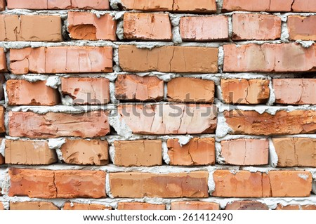 Orange brick wall background - stock photo