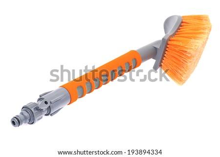 Orange Brush for Washing the Car. Isolated on White Background. - stock photo