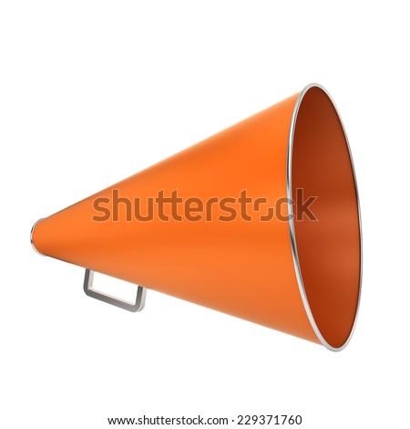 Orange bullhorn. 3d illustration isolated on white background - stock photo