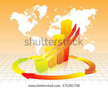 Orange business chart with map in background - stock photo