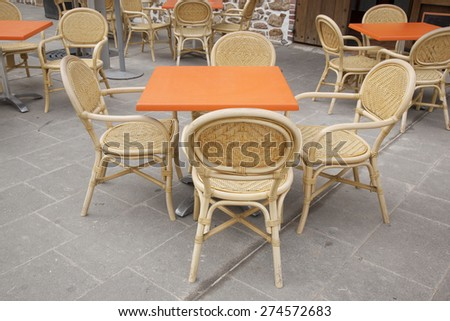 Orange Cafe Terrace Table and Chairs