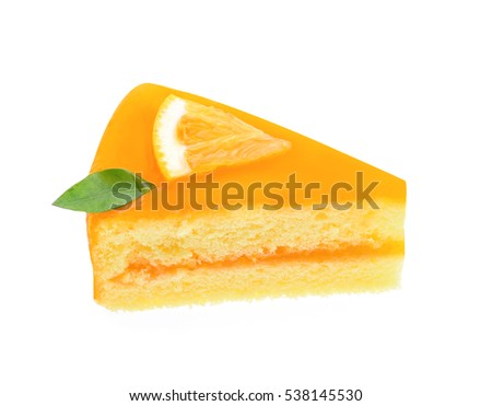 Orange cake on white background.