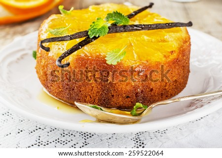 orange cake upside down with honey and vanilla. selective Focus - stock photo