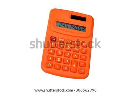 Orange calculator isolated on white background - stock photo