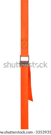 Orange cam buckle strap on a white background - stock photo