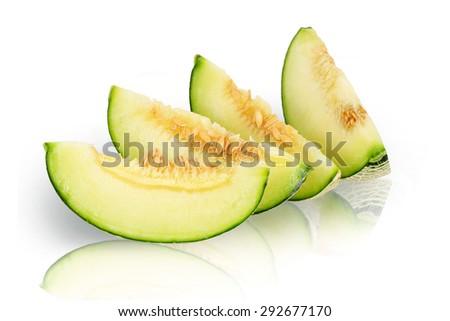 Orange cantaloupe melon slices   - stock photo