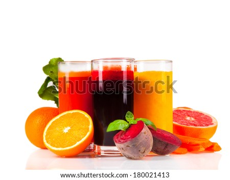 Orange, carrot and beetroot juice isolated on white background. Healthy drink isolated on white background . Fresh drink with fruits. Mix juice.