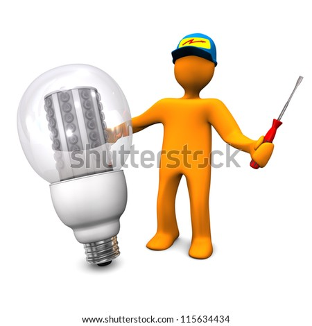 Orange cartoon character as electrician phones with LED lamp. White background. - stock photo
