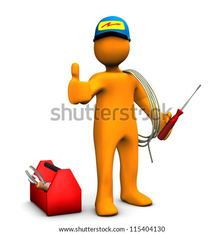 Orange cartoon character as electrician with OK Symbol. White background. - stock photo