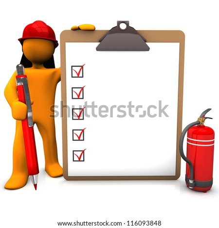 Orange cartoon character as fireman with red pen and clipboard. - stock photo