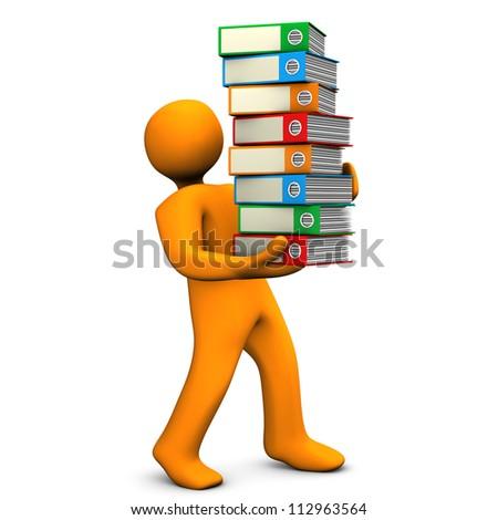 Orange cartoon character bears a batch of folders. White background. - stock photo
