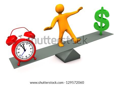 Orange cartoon character between time and money. - stock photo