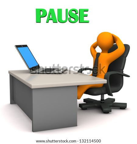 "Orange cartoon character in the office with german text ""Pause"" translate ""Break"". - stock photo"