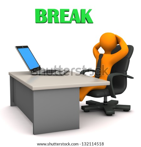 "Orange cartoon character in the office with text ""Break"". - stock photo"
