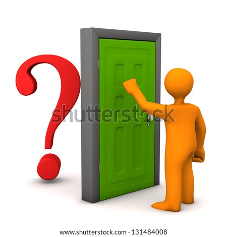 Orange cartoon character knocks on the frontdoor.Behind the frontdoor is a red question mark. - stock photo