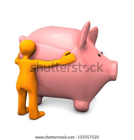Orange cartoon character likes pink piggy bank. - stock photo