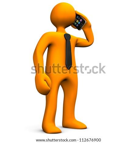 Orange cartoon character phone with a smartphone. - stock photo