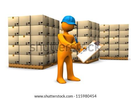 Orange cartoon character rolls green gear. White background. - stock photo
