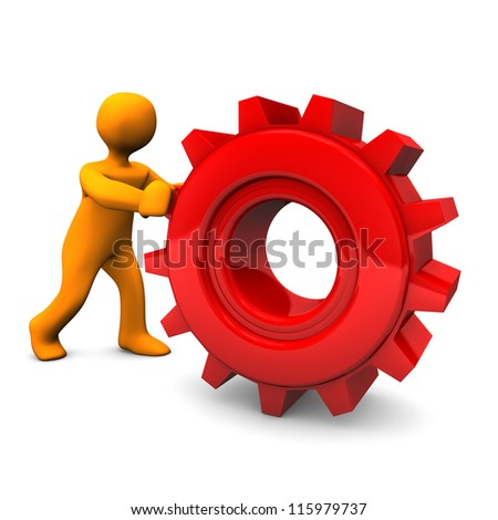 Orange cartoon character rolls red gear. White background.