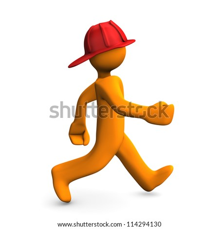 Orange cartoon character runs about fire alert. White background.