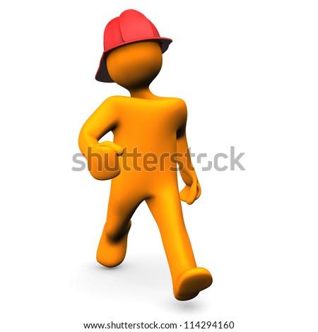 Orange cartoon character runs about fire alert. White background. - stock photo