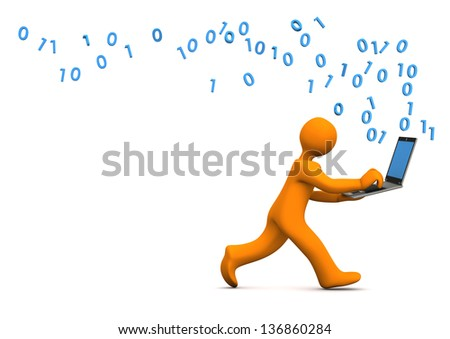 Orange cartoon character runs with a laptop. White background. - stock photo