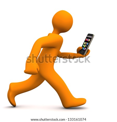 Orange cartoon character runs with a smartphone. White background. - stock photo