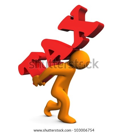 "Orange cartoon character with a big text ""tax"". - stock photo"