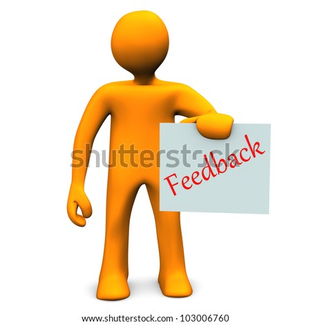 Orange cartoon character with a feedback on paper. - stock photo