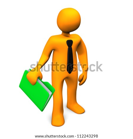 Orange cartoon character with a green folder and black tie. - stock photo