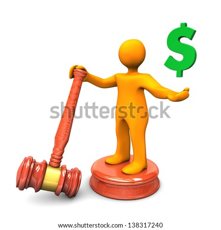 Orange cartoon character with auction hammer and green symbol of dollar. - stock photo