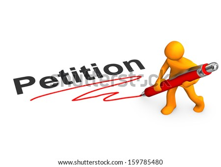 Orange cartoon character with ballpen and text Petition. - stock photo