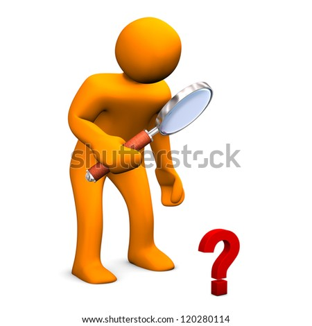 Orange cartoon character with big loupe and small question mark. - stock photo