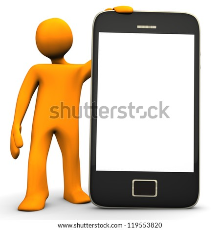 Orange cartoon character with big smartphone on the white background. - stock photo