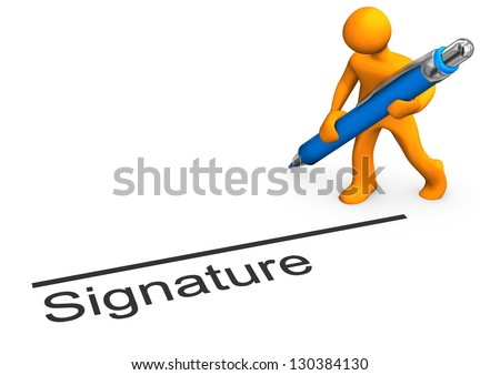 """Orange cartoon character with blue pen and text """"signature"""". - stock photo"""