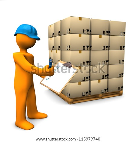 Orange cartoon character with clipboard and pallet. White background. - stock photo