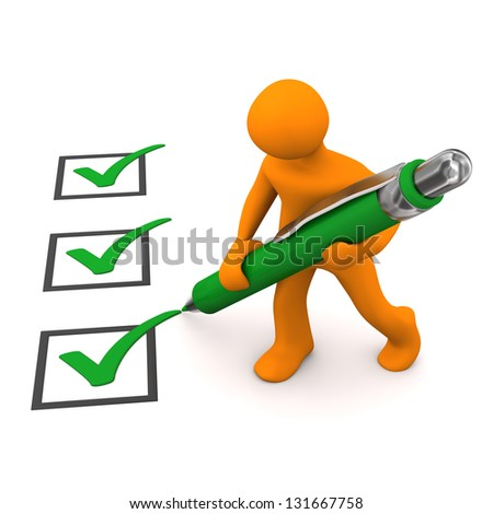 Orange cartoon character with green checklist and ballpen, - stock photo