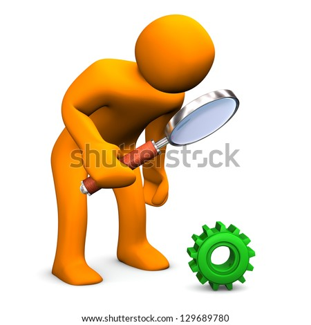 Orange cartoon character with green gear and loupe. - stock photo