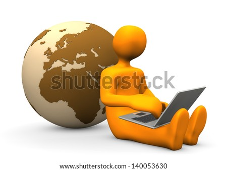 Orange cartoon character with laptop and globe. - stock photo