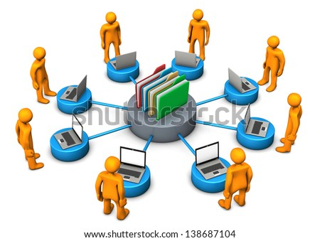 Orange cartoon character with laptops and online archive on the white background. - stock photo