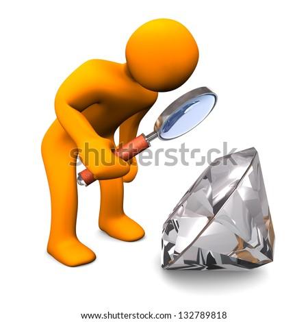Orange cartoon character with loupe and diamond. - stock photo