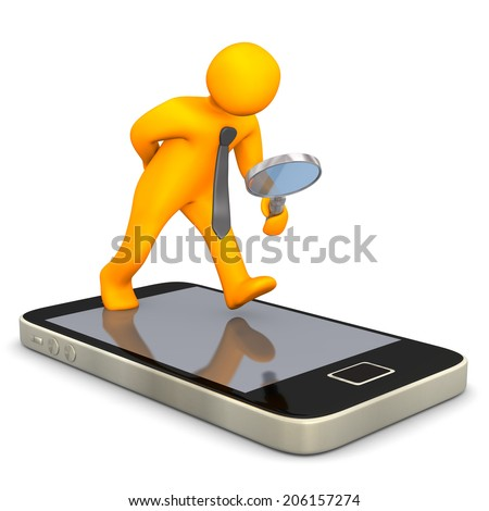 Orange cartoon character with loupe and smartphone on the white background. - stock photo