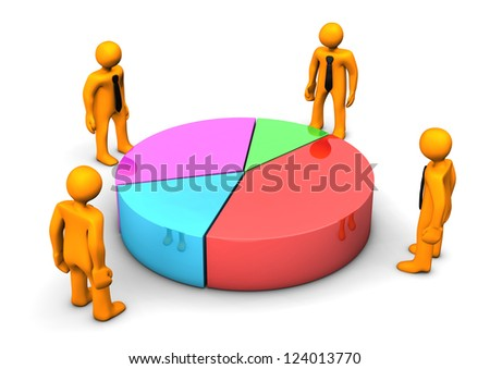 Orange cartoon character with piechart on the white background. - stock photo