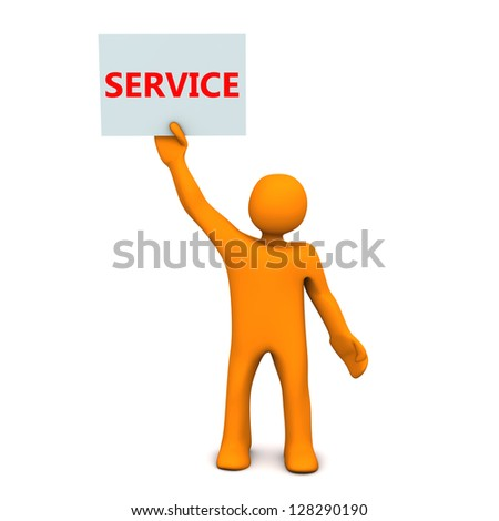 "Orange cartoon character with sheet of paper and text ""Service""."