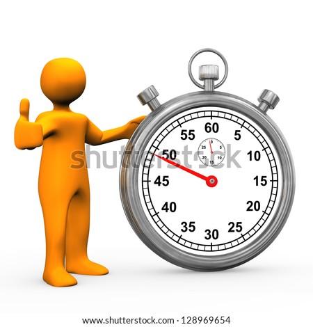 Orange cartoon character with stopwatch. White background. - stock photo