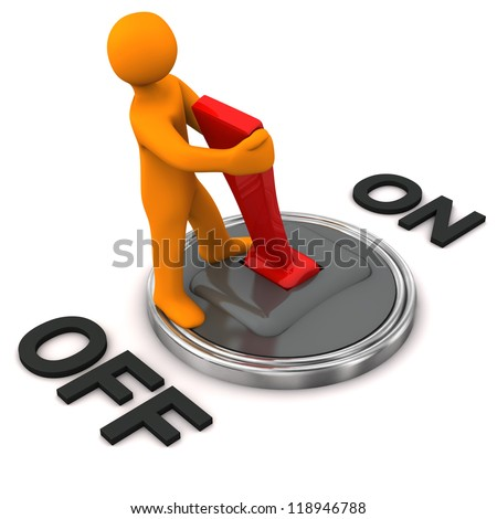 Orange cartoon character with switched off connected swith . - stock photo