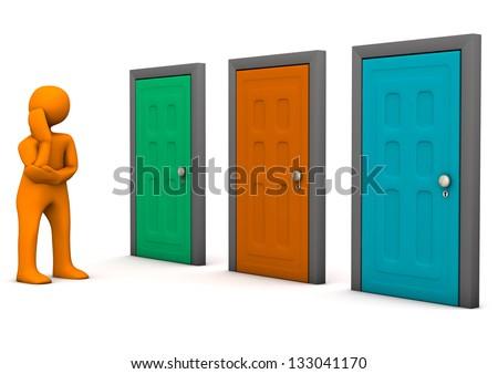 Orange cartoon character with three colorful doors. White background. - stock photo