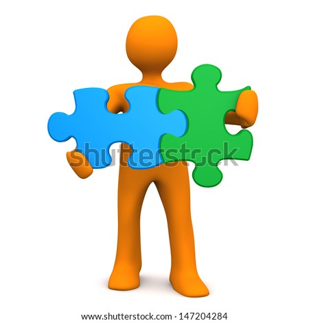Orange cartoon character with two puzzlepieces. White background. - stock photo
