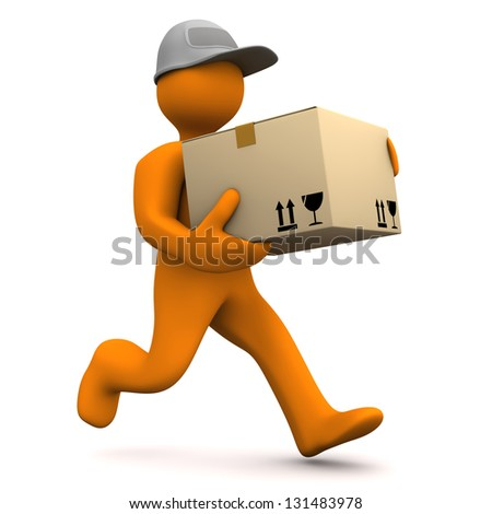 Orange cartoon characters runs with big parcel. White background. - stock photo